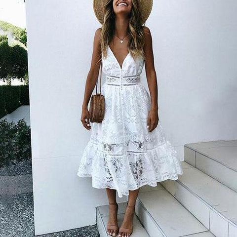 Solid Color Sling Lace Midi Vacation  Dress