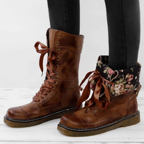 Vintage Women Lace-Up Leather Daily Mid-Calf Boots