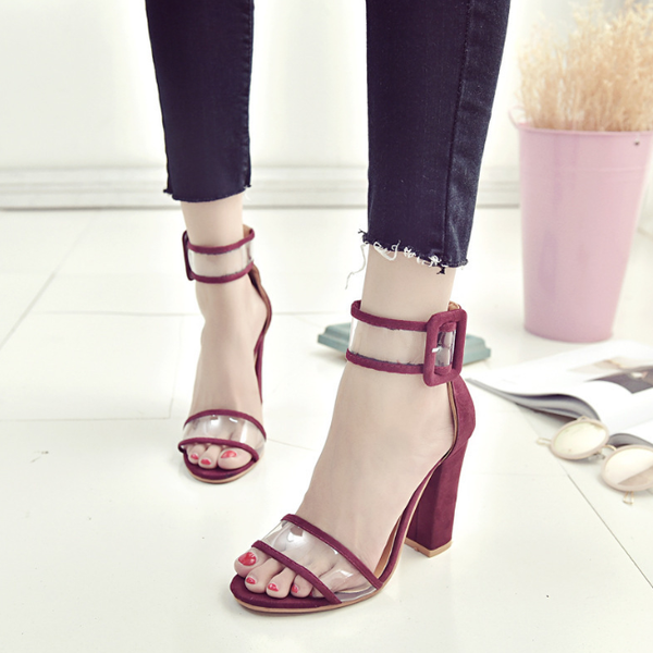 Ankle Strap Women Sandals Transparent Thick High Heels Shoes