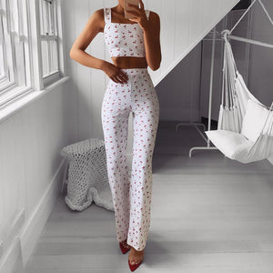 Sling Sexy Printed Wide-Leg Pants Two-Piece Suit