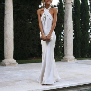 Fashion Halter Sexy Solid Halter Evening Dress