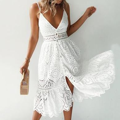 Sling Lace Stitching Cutout Vacation    Dress