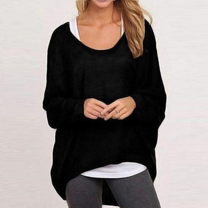 Round Neck Plain Knit Pullover Blouse