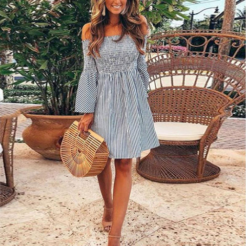 Off Shoulder  Striped  Bell Sleeve  Half Sleeve Casual Dresses