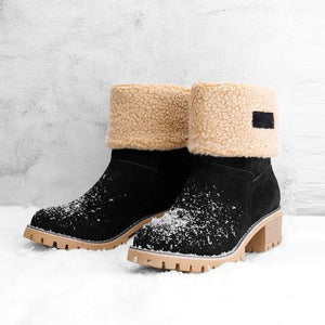 Women Warm Square Heels Multicolor Snow Boots