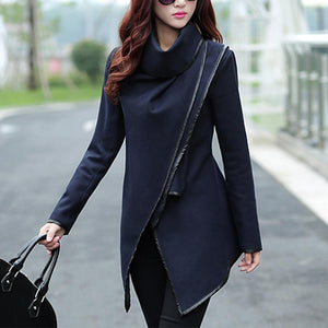 Turtle Neck Front Wrapped Zipper Trench Wool Coat