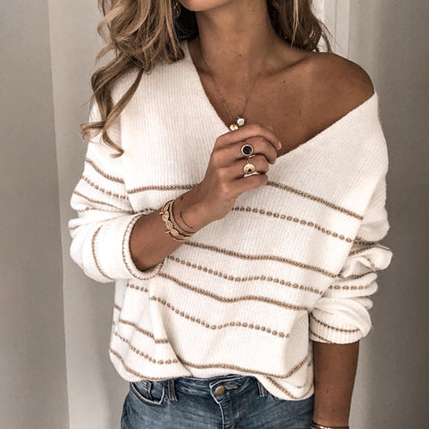 Thin strip V-neck knit top Sweater
