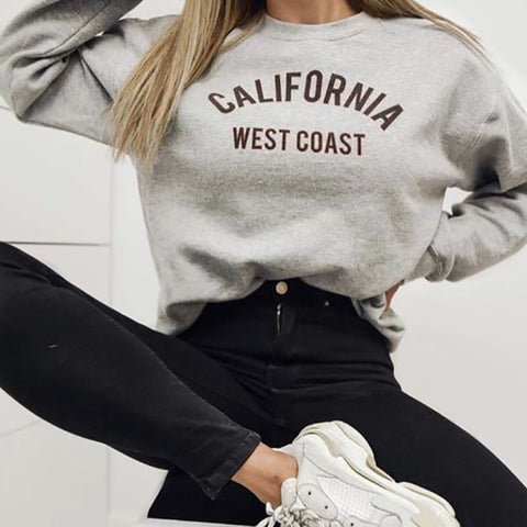 Women's Fashion Long Sleeve Letter Printed Colour Sweatshirt