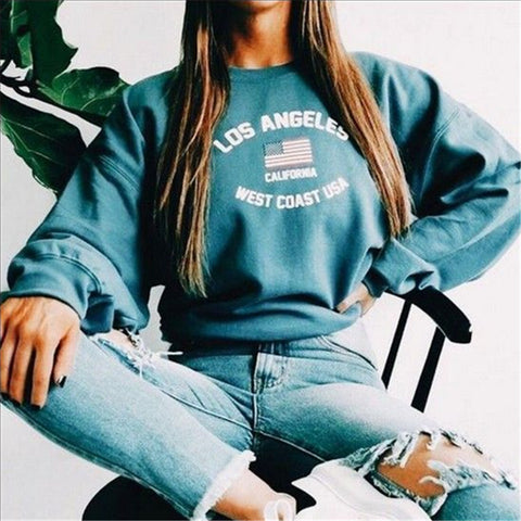 Fashion Round Neck Long Sleeve Print Sweatshirt