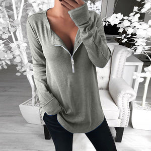 Fashion Zip Collar Solid Color Loose Long-sleeved Blouse