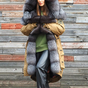 Women's fashion thick hooded coat