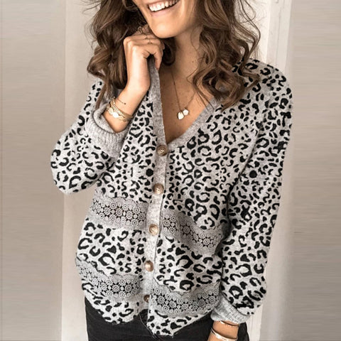 Women's Casual Leopard Print Paneled Cardigan Sweater