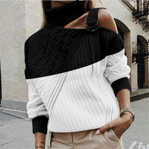 Fashion Pile Collar Off-shoulder Colorblock Twisted Knit Sweater