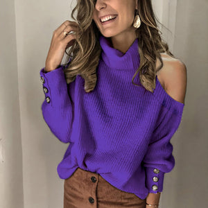 Women's Fashion Solid Turtleneck Sweater