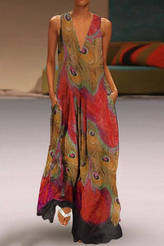 Bohemian V Neck Printed Colour Sleeveless Maxi Dress