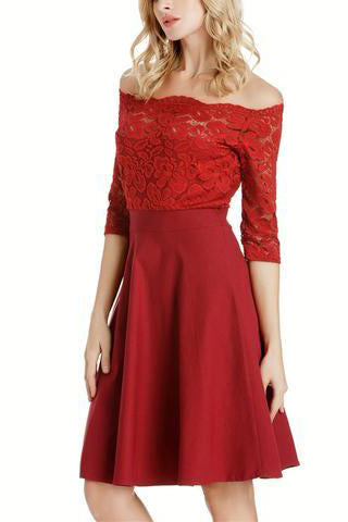 Cutaway Collar Lace Expansion Skater Evening Dress