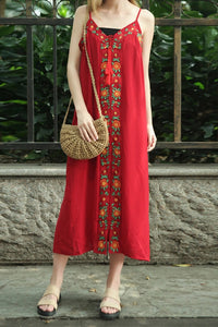 Female Sleeveless Embroidery Loose Sling  Maxi Dress