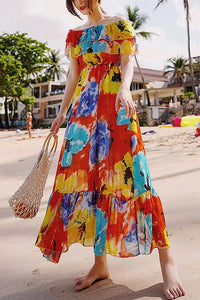 Bohemian Boat Neck Pleated Ruffled Printed Colour Maxi Dress