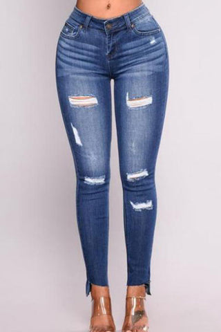 Ladies Fashion Pure Color Denim Ripped Jeans