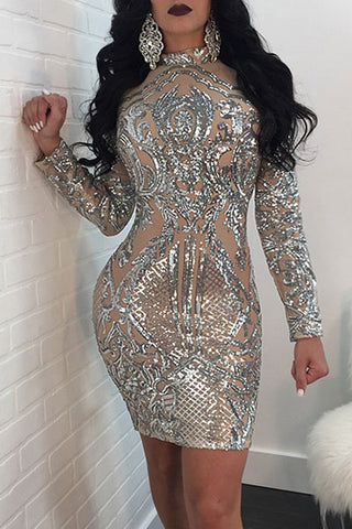 Sexy Sequin Long Sleeves Bodycon Dress