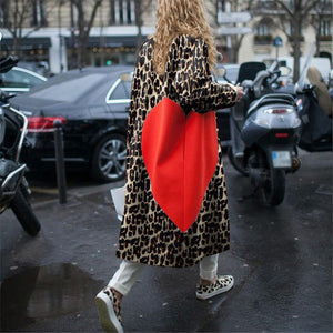 Romantic Paris Seamless Splicing Big Love Print Loose Coat
