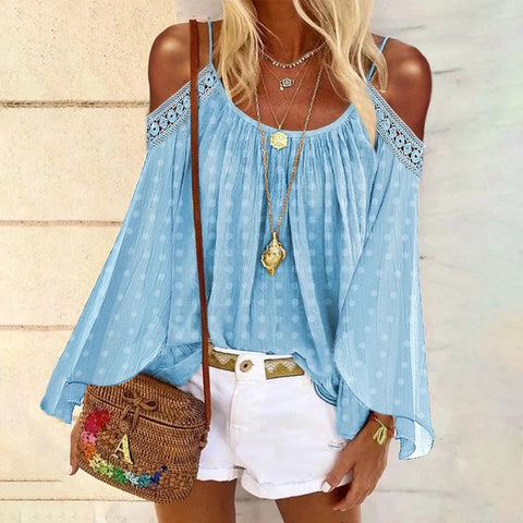 Casual Pure Color Off Shoulder Sling Shirt T-Shirt