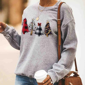 Women;s Casual Round Neck Long Sleeve Printed Color Sweatshirt