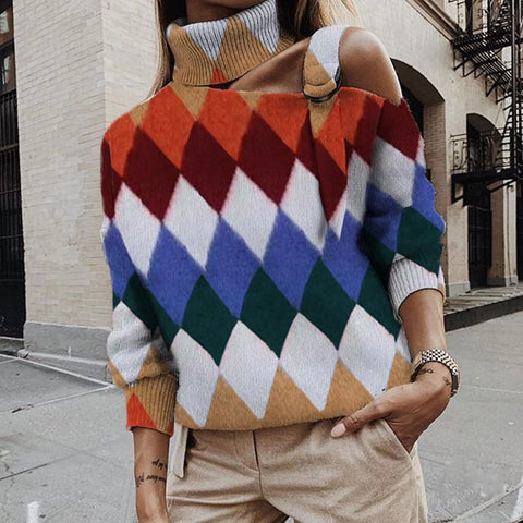 Fashion Pile Collar Off Shoulder Colorblock Geometric Pattern Knit Sweater