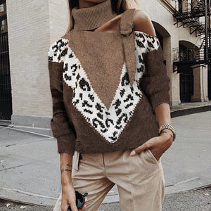Women's Vintage High Collar Printed Color Sloping Shoulder Sweater