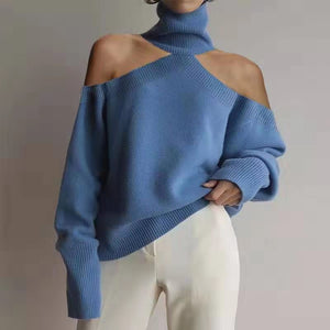 Sexy Off-Shoulder Pure Color Women's Sweater