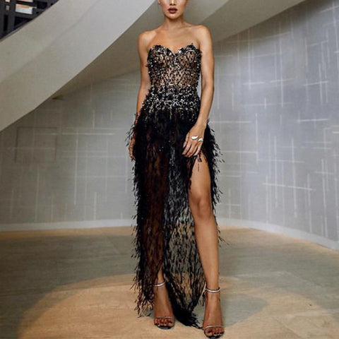 Women's Sexy Paillette Splicing Feather Sleeveless Tube top Evening Dress