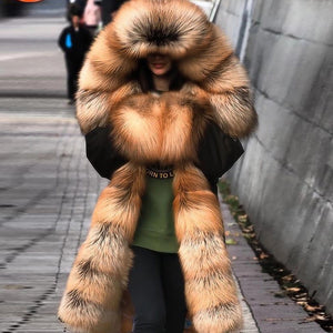 Womens Fashion Faux Fur Splicing Coat