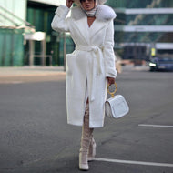 Women's Casual Turndown Collar Long Sleeve Belted Coat
