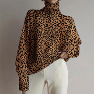 Women's fashion high collar leopard printed long-sleeved sweater