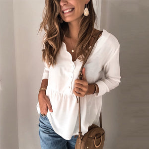 Casual Solid Color V-neck Single-breasted Long-sleeved Blouse
