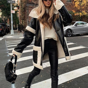 Fashion Long Sleeve Splicing Fold Over Collar Zipper Jacket