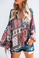 Printed V Neck Long-Sleeved Chiffon Blouses
