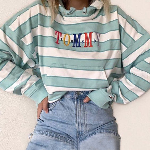 Daily letters embroidery loose striped kangaroo pocket hoodie Sweatshirt