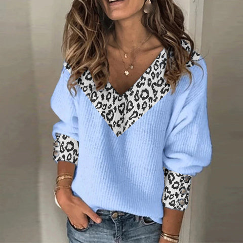 Casual v-neck long-sleeved leopard print splicing sweater