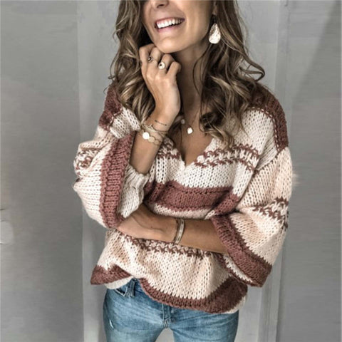 Loose v-neck colorblock knit top Sweater