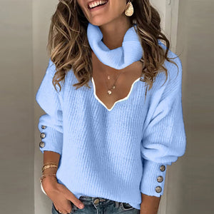 Ladies casual V-neck Pure color sweater