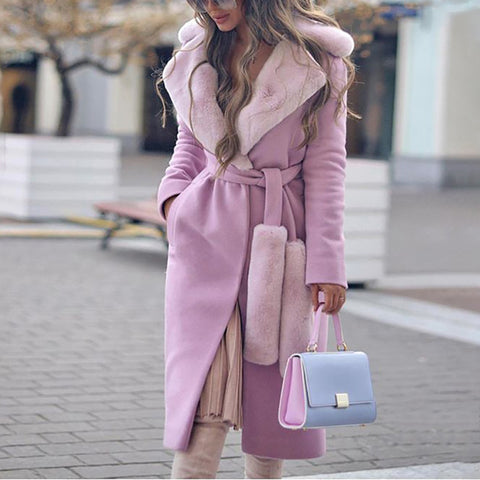 Fashion Women'S Long-Sleeved Pure Color Coat