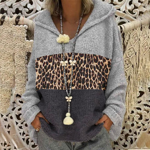 Casual Leopard Colorblock Hooded Leopard Print Sweater