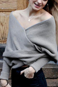 Knitted Fashion V Neck Open-Shoulder Sweater Shawl Sweater