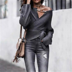 Autumn And Winter Fashion Open-Shoulder Long Sleeve Sweater