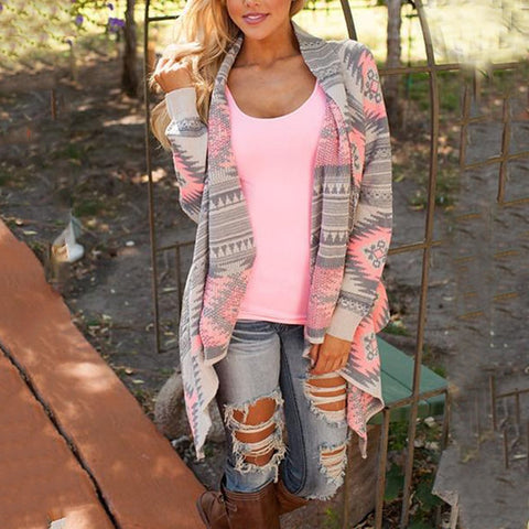 Printed  Long Sleeve Cardigans Coat