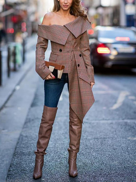Fashion Sexy Off The Shoulder Plaid Long Sleeve Blouse