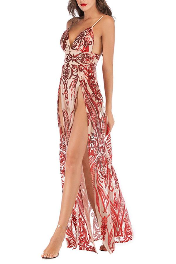 Fashion V Nec Sling Sequins Slit Evening Dress