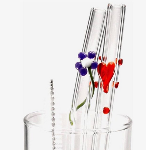 Glass Straws with heart and flower