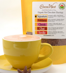 a cup of hot chocolate or cocoa from Coco West